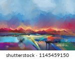 abstract oil painting landscape.... | Shutterstock . vector #1145459150