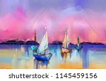 colorful oil painting on canvas ... | Shutterstock . vector #1145459156