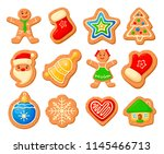christmas gingerbread set.... | Shutterstock .eps vector #1145466713