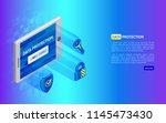 3d cyber security technology... | Shutterstock .eps vector #1145473430