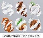 chocolate  caramel  coconut ... | Shutterstock .eps vector #1145487476