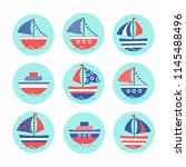 cartoon stickers with colored... | Shutterstock .eps vector #1145488496