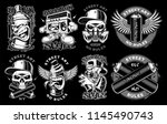 set of black and white logos ... | Shutterstock .eps vector #1145490743