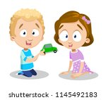 smiling curly caucasian boy in... | Shutterstock .eps vector #1145492183