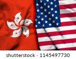 Hong Kong And Usa Flag On Cloth ...