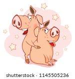 illustration of a cute pig....   Shutterstock . vector #1145505236