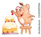 illustration of a cute pig.... | Shutterstock . vector #1145505596