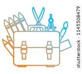 school handbag with supplies | Shutterstock .eps vector #1145508479