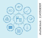set of 9 clean outline icons... | Shutterstock .eps vector #1145508509