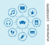 set of 9 music filled icons... | Shutterstock .eps vector #1145508590