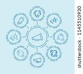 set of 9 communicate outline... | Shutterstock .eps vector #1145510930
