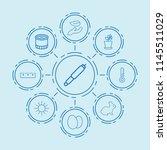 set of 9 spring outline icons...   Shutterstock .eps vector #1145511029