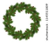 christmas wreath with fir tree  ... | Shutterstock .eps vector #1145511809
