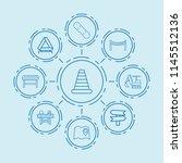 set of 9 street outline icons... | Shutterstock .eps vector #1145512136