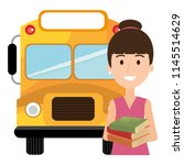 young girl student with bus...   Shutterstock .eps vector #1145514629