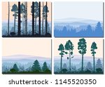 set cards forest  silhouettes ... | Shutterstock .eps vector #1145520350