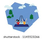 a woman and a man travel by car.... | Shutterstock .eps vector #1145523266