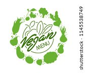 vegan food menu restaurant... | Shutterstock .eps vector #1145538749
