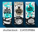 barbecue banner posters grilled ... | Shutterstock .eps vector #1145539886