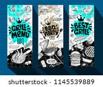barbecue banner posters grilled ... | Shutterstock .eps vector #1145539889