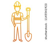 builder with shovel character | Shutterstock .eps vector #1145541923