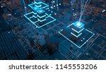 3d render abstract tehcnology... | Shutterstock . vector #1145553206