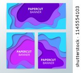 colorful paper cut banners   Shutterstock . vector #1145554103