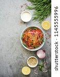 cole slaw salad. fresh... | Shutterstock . vector #1145555996
