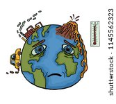 hand drawn planet earth with... | Shutterstock .eps vector #1145562323