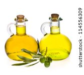 two glass bottles of olive oil  ... | Shutterstock . vector #114556309