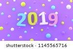 2019 new year wallpaper. 3d... | Shutterstock . vector #1145565716