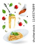 flying pasta with marinara... | Shutterstock . vector #1145574899