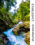 vintgar gorge  slovenia. river... | Shutterstock . vector #1145578913