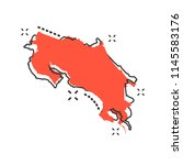 vector cartoon costa rica map... | Shutterstock .eps vector #1145583176