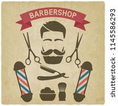male face with barbershop tools ... | Shutterstock .eps vector #1145586293