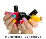 woman hands with nail polishes... | Shutterstock . vector #114558826