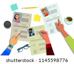 the hr manager reviews the... | Shutterstock .eps vector #1145598776