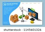 isometric online shopping... | Shutterstock .eps vector #1145601326