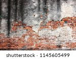 old red brick wall rough of old ... | Shutterstock . vector #1145605499