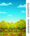 colorful landscape of an apple ... | Shutterstock .eps vector #1145605793