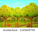 colorful landscape of an apple ... | Shutterstock .eps vector #1145605796