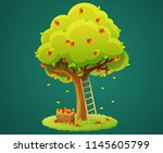 colorful apple tree with red... | Shutterstock .eps vector #1145605799