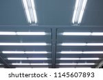 ceiling with fluorescent lamps. ... | Shutterstock . vector #1145607893