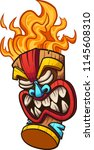 cartoon tiki mask with fire... | Shutterstock .eps vector #1145608310