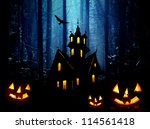 halloween.  moonlight  castle... | Shutterstock . vector #114561418