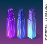 set city of ultraviolet style... | Shutterstock .eps vector #1145616023