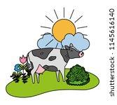 color nice cow animal walking... | Shutterstock .eps vector #1145616140