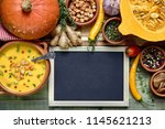 pumpkin soup background with... | Shutterstock . vector #1145621213