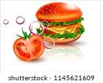 vector hamburger. a realistic...   Shutterstock .eps vector #1145621609
