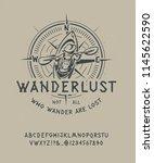 font wanderlust. craft retro... | Shutterstock .eps vector #1145622590